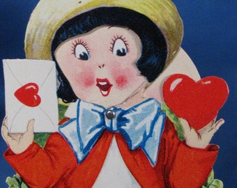 1930's Childrens Valentine Card with Moving Face