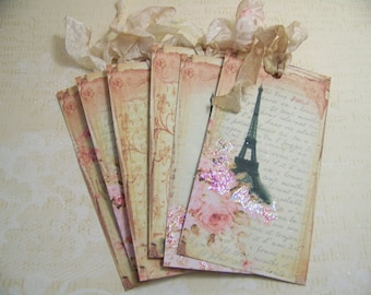 Paris Tags Vintage French Tags Paris in the Spring Eiffel Tower Tags Wish Tags Wedding Valentines Day Tags Set of 6
