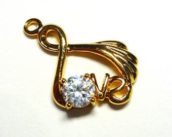 Gold filled and zirconia 22x14mm gold LOVE charm