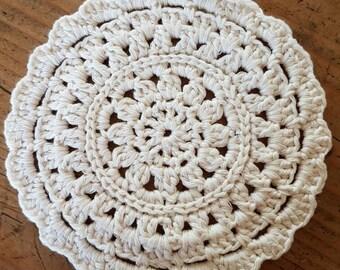 Handmade Cotton Mandala, Doily, Pot Holder, Trivot