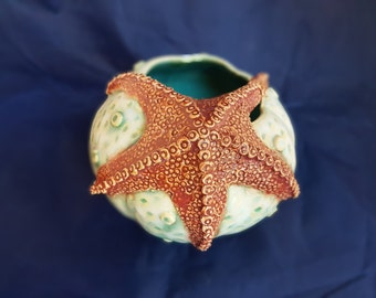 Sea urchin with starfish vase seafoam, white and red hand made ceramic
