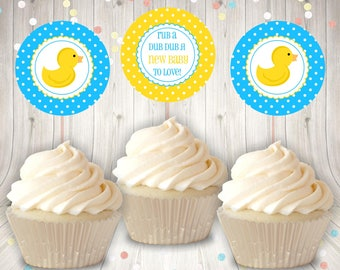 Rubber Duck Baby Shower Cupcake Toppers Party Tags Favor Tags Instant Download DIY Print Your Own