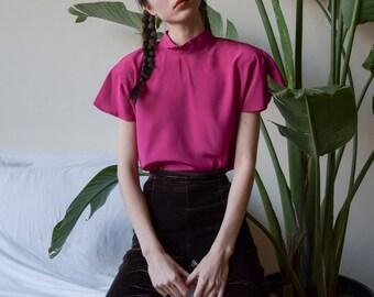 80s fuschia cap sleeve mock neck blouse / cap sleeve blouse / s / 3690t / B18