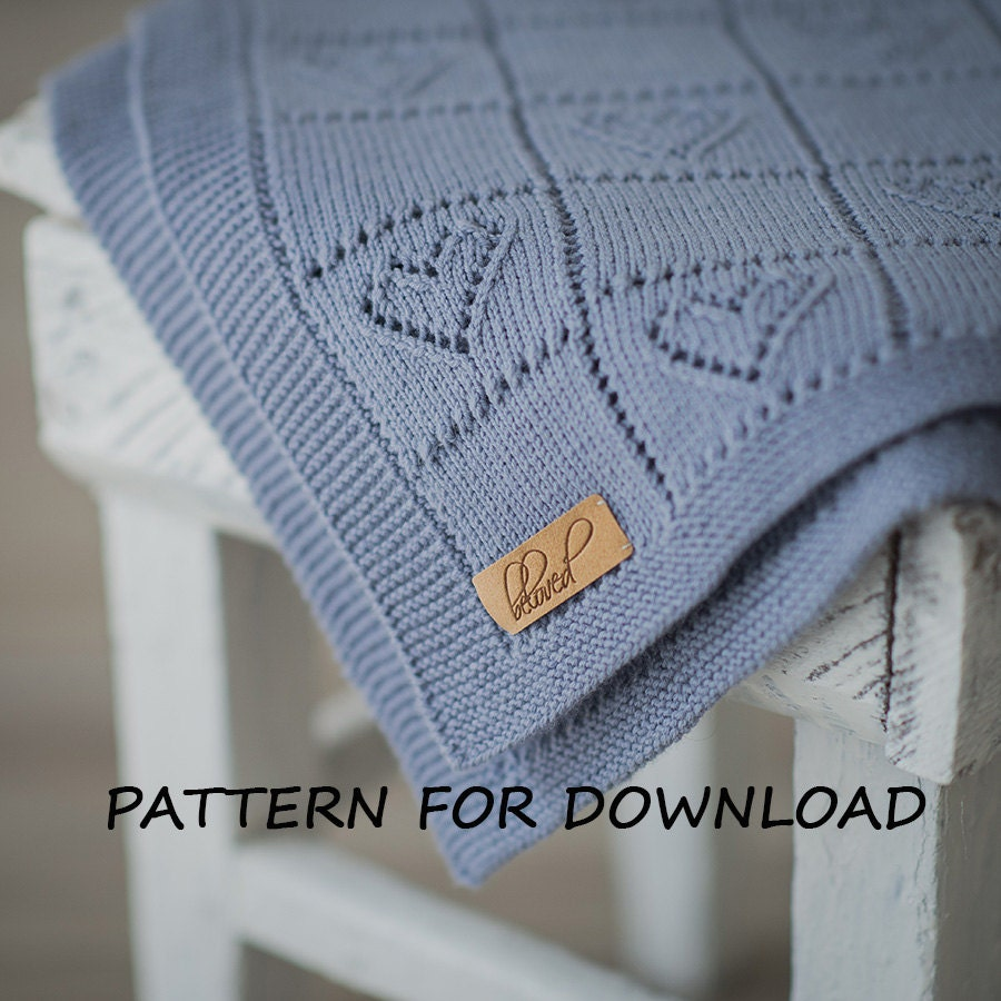 Knit Baby Blanket Pattern in English Knitting Pattern for