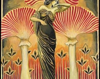 Soma Goddess 8x10 Giclée Canvas Print Pagan Mythology Art Deco Art Nouveau Goddess Art