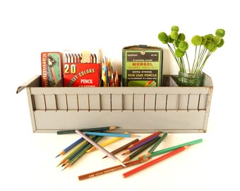 Vintage Industrial Metal Parts Drawer with 4 Dividers in Grey (c.1950s) - Great industrial organizer, Note Holder, Snack Tray