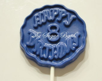 8th BIRTHDAY CHOCOLATE Lollipops*12 Count*8th Birthday Party*#8 Birthday Favor*8 Year Old Birthday Party*Chocolate Sucker*Candy Lollipop