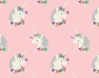 I Believe in Unicorns -- Pink Unicorns & Hearts -- 1/2 Yard