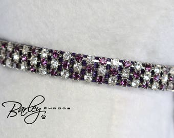 "NEW! Purple Passion Swarovski® Rhinestone Dog Cat Pet Collar - 3 Row Amethyst & Crystal 3/8"" Wide 10"" 12"" 14"""