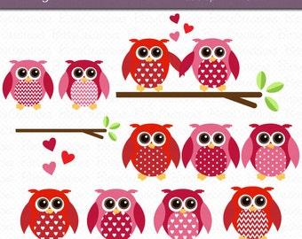 Valentine Owls Clipart Digital Art Set INSTANT DOWNLOAD Valentine Clipart Owl Clip Art