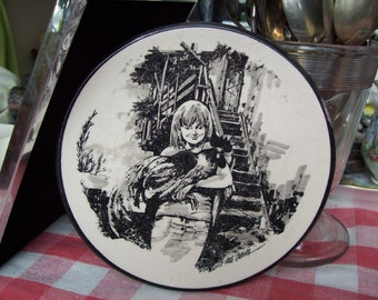 girl and rooster plate, black and white wall hanging plate, small ready to hang plate