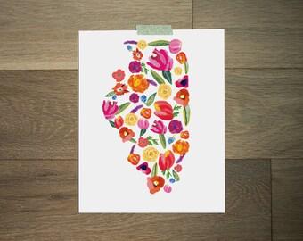 Illinois print 8 x 10 - art print - illinois map - flower print - bold florals - illinois state
