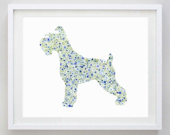 Schnauzer Floral Watercolor Art Print