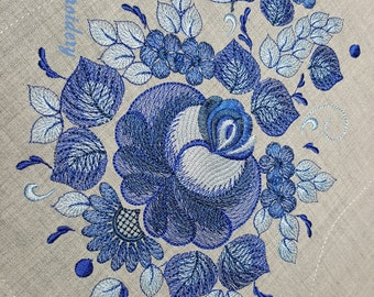 Gzhel, Blue Flower, Russian Folk Floral Ornament,  Christmas Stocking Project - Embroidery Designs Set 9.