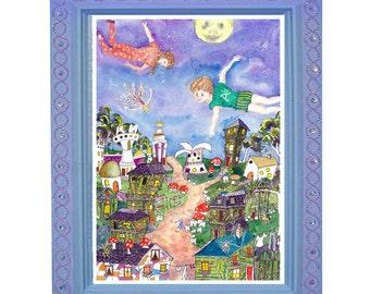 nursery art whimsical childrens art, fairy nursery art baby girl nursery art, baby girl decor, nursery decor, nursery wall art, fairy print