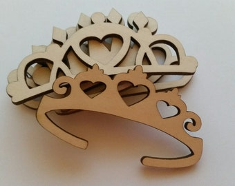 Laser Cut Wooden Variety Pack of Princess/Prince/ King/ Queen Crowns and Tiaras Cut Outs ( Embellishments)