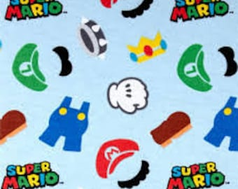 """Super Mario Clothes Icons FLANNEL, Nintendo by Springs Creative, by the half yard - 42""""W, 100% cotton, video game fabric, mario fabric"""