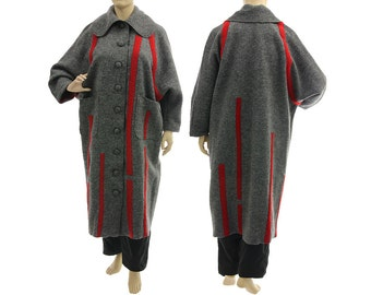 Maxi fall winter wool coat in grey, long coat boiled wool grey with red, lagenlook maxi grey wool coat plus size women XL-XXL, US size 18-24