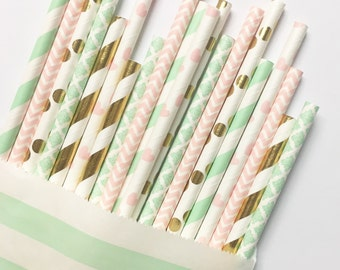 Mint+Pink Gender Reveal straw mix//paper straws, party supply, party decorations, baby shower, gender reveal, birthday party, weddig