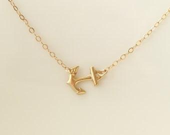 Anchor Necklace + Sideways Anchor Necklace + Anchor Jewelry + Gold Anchor Necklace + Best Friends Gift + Sideways Necklace + Navy + M3