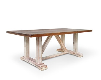 Table, Dining Table, Reclaimed Wood, Trestle Table, Kitchen Table, Rustic, Handmade