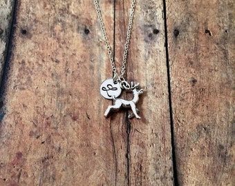 Reindeer initial necklace - deer necklace, reindeer jewelry, woodland jewelry, silver deer necklace, winter necklace, Christmas necklace