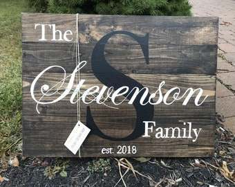 Pallet Style Family Name Rustic Wood Sign Personalized