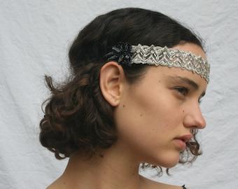 Silver Art Deco headband, stretch headband, beaded headpiece, gray beaded headband, Grecian headband, gatsby headpiece, flapper dress, gray
