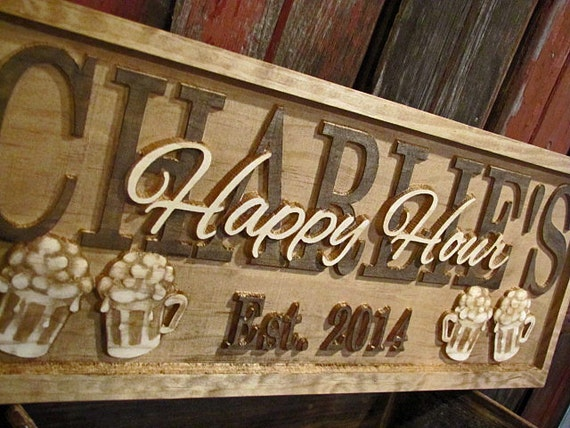 Personalized Nfl Man Cave Signs : Personalized bar signs wedding gift 3d beer wood