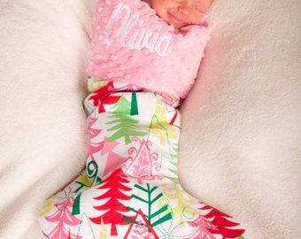 Pink Christmas Trees Embroidered Baby Christmas Stocking