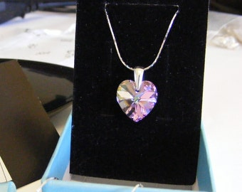 Silver necklace with Swarovski heart crystal heart vitrail light, silver necklage 20 inc,purble heart,wedding,girlfriend