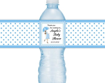 Baby Shower Water Bottle Labels, Umbrella, Polka dots, CUSTOM Baby Shower Water Bottle Labels, you print, you cut, DIY water bottle labels