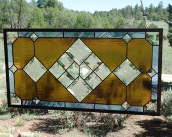 "stained glass window panel""BRONZE BEAUTY"" clear & glue chip beveled glass,transom, sidelight, stained glass suncatcher,anniversary gift"