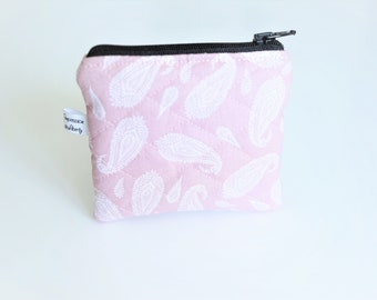 Quilted wallet, Oriental feathers pink, lined with a cretonne orange curry, ideal gift for mother