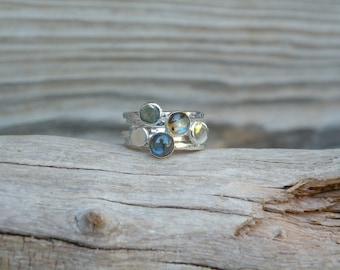 Labradorite Stacking Ring Set, labradorite stacking ring, Labradorite, Sterling Silver, Simple Jewelry
