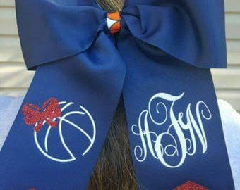 Basketball Cheer Style Hair Bow Monogramed Basketball Sister