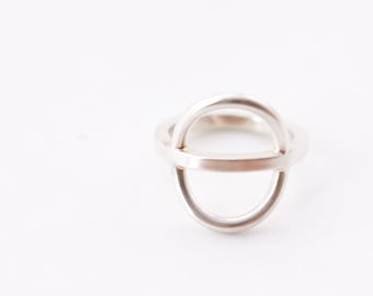 """Sculptural and airy sterling silver ring, a super sleek and streamlined minimalist design - """"Acoustic Ring"""""""