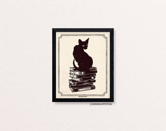 Book Club: Cats and Books Print