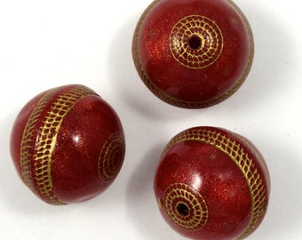 12mm Cranberry and Gold Lucite Bead (2 Pcs) #1870