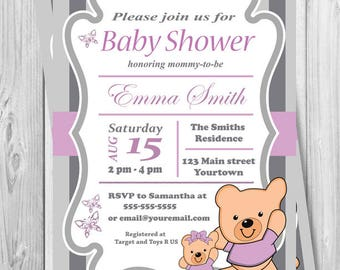 Teddy Bear Baby Shower Invitation Boy Girl Printable Baby