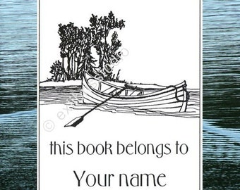 Bookplates Island Boat 15 Personalized Ex Libris Booklabels