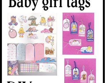 CLEARANCE SALE * Scrapbook Page Baby girl Scrapbook Paper Tag kit Scrapbooking Embellishment 3d baby tags ticket Scrapbook Paper Piecing