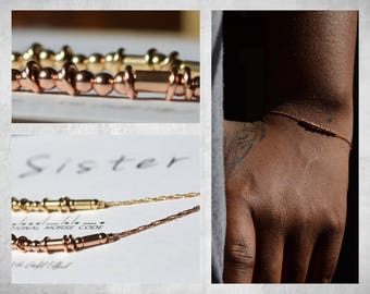 Morse Code Bracelet / Rose Gold  Bracelet / Sister Bracelet / Rose Gold Chain Bracelet / Custom Bridesmaid Gift / Best Friendship Gift
