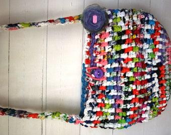 Handmade Recycled Handbag with Purple Shabby Chic Flower