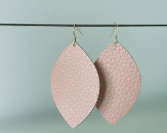 Pebble Pink Leather Earrings, Everyday Earrings, Leather Statement Earrings, Long Earrings, Chandelier Earrings, Boho Earrings, Gifts