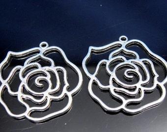 2 pcs - Large Antique Silver Rose Flower Charm Pendant 44x41x2mm
