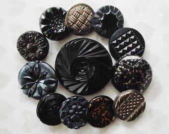 Black Czech Buttons - Vintage Black and Silver Glass Buttons - 12 Assorted Black Buttons - Large Black Swirl Button - Black Metallic Buttons