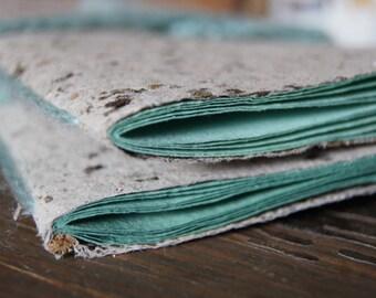 Tea & Mint Green Little Notebook - Handmade Vegetal Paper - Original Organic - 10 Bright Colored Pages - Reclaimed Tea Paper - Botanical