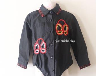 Atoghu onesie shirt/African boy shirt/babyboy clothes//ankara onesie/kente /African clothing/Dashiki/baby african wear/african shirt/kente