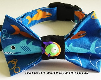 Summer Bow Tie Fish Collar for Dogs and Cats